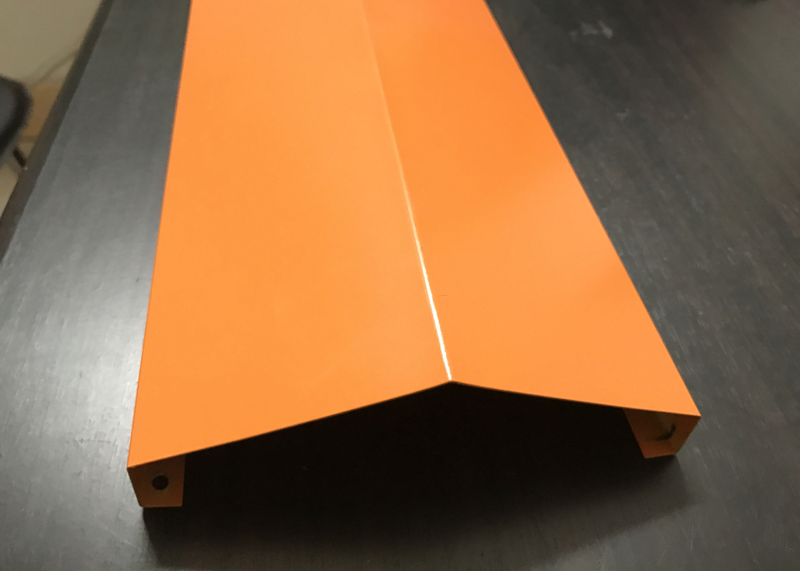 Orange Custom V Shaped Aluminium Strip Ceiling Open View Aluminium Suspended System